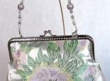 Butterfly Floral Silk Clutch with Removable Beaded Handle
