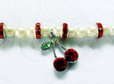 Cherry Charm Bracelet, White Faux Pearls, Rhinestone Spacers