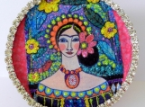 Frida Kahlo Paper Mache Box, Mexican Art, Candy, Jewelry, Box