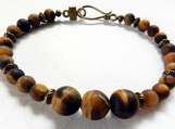 Jasper Stone Beaded Bracelet, Unixex Bracelet, Copper Spacers
