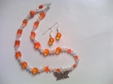Orange Beaded Butterfly Necklace Set