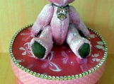 Paper Mache Trinket Box, Birthstone Bear Figurine, Candy Jewerly