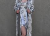 Silver Floral Print Floor Length Opera Coat ( M )
