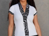 White and Black Geommetric Trim Stretch Top (M)