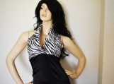 Zebra Satin Evening Gown - X-SM