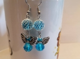 Beautiful pair of blue angel earrings birthstone color december blue angel earrings blue zircon