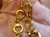 Guns and hancuffs gold plated earrings gun earrings handcuffs earrings gold plated earrings pistol earrings