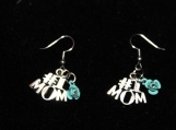 Pair of #1 mom silver earrings  with turquoise flower / mothers day gift earrings / mom earrings / silver earrings / flower earrings