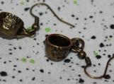 Pair of vintage style cup earrings / bronze cup earrings / vintage style earrings / pair cup earring / coffee cup earrings /tea cup earrings