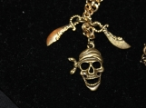 Pirate skeleton head and saber sword brass necklace / pirate with bandana skeleton and saber sword / brass necklace / sword neckalace