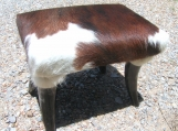 Rustic Horn leg cowhide footstool Made In USA 0147