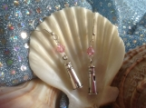 Lighthouse earrings with pink Swarovski crystal