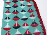 Fleece Sail Boat Blanket with Crochet Edge