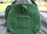 green wool purse