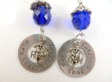 Hand stamped blue RN earrings