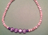 Mother-of-Pearl Hand-beaded Purple LOVE Bracelet