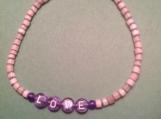 Mother-of-Pearl Hand-beaded Purple LOVE Bracelet