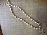 Pepper & Salt Beaded Faith Cross Necklace