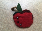 Felted wool apple pin