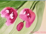 Get Well Soon Tulips Hand-painted Watercolor Greeting Card