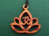 Lotus Flower Jewelry, Ohm Pendant, Meditation Necklace,  Yoga Teacher Gift, Tulipwood, Flower jewelry