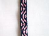 Navy blue and pink chevron keychain