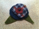 Plaid felted wool flower pin