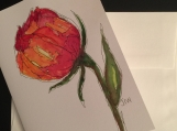 Single Stem Flower Hand-painted Watercolor Greeting Card