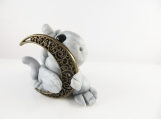 Clay silver baby dragon  sculpture figurine  with a moon