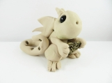 Clay tan dragon  sculpture figurine