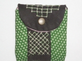 Green dots and brown stripe change purse
