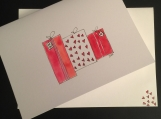 Hearts Gift Wrapped Presents/Handpainted Watercolor Greeting Card