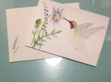 Hummingbird Watercolor Hand-painted Card