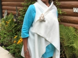 Ivory fleece wrap /vest with matching pin