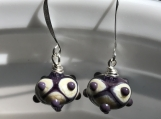 Lampwork Glass Purple and Creme Earrings