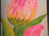 Pair of Tulips Hand-painted Watercolor Greeting Card