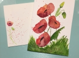 Poppies Watercolor Hand-painted card