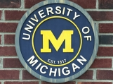 University of Michigan wood carved sign