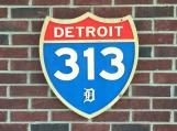Wood Carved Detroit 313 Sign