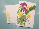 Yellow Magenta Wildflowers Psalm 9:1 Hand-Painted Greeting Card