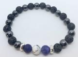 Amethyst, White Howlite and Magnetic Hematite Diffuser Bracelet