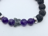 Healing Bracelet with Amethyst and Essential Oil diffusing Lava