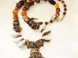Handmade Tribal Kuchi Bell Necklace, Cowrie Shell, Multi Bead