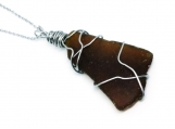 Stainless Steel Wire Wrapped Brown Beach Glass Pendant Necklace