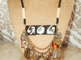 Tribal Charm Necklace, Bone Beads, Shells, Indian Chief Charms