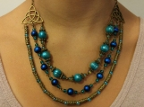 3 row teal glass & pearls beaded necklace