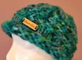 Funky chunky hat for older child in shades of teal