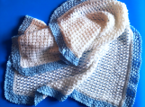 Large White & Blue Hand-Knitted Baby Boy Blanket