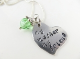 Mini hand stamped my mother my friend heart necklace