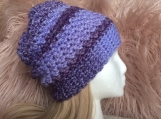 Multi Coloured Crochet Hat (Purple)